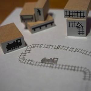 紙の上にあなただけの路線をつくろう 線路と電車のスタンプ「train stamps 8pieces」