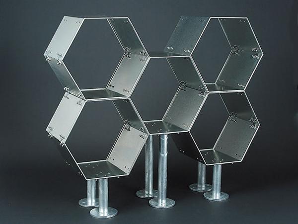 金属剥き出しな六角形の無骨なラック「ダルトン エクステンション 'HHP' ラック」001