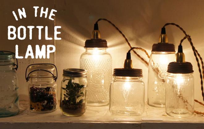 天井からぶらさがるグラスのライト Ball Mason Jar Chandelier Lamp001