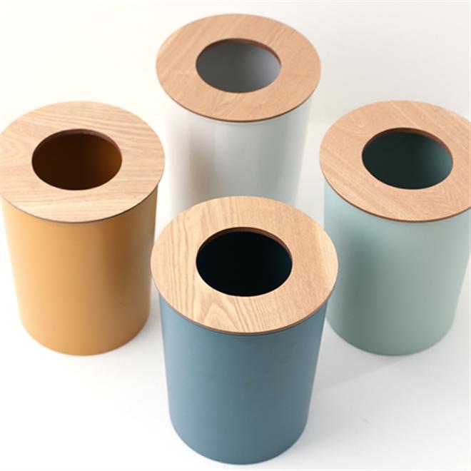 ゴミ袋を隠せる丸いゴミ箱 COLOR & WOOD DUST BOX001