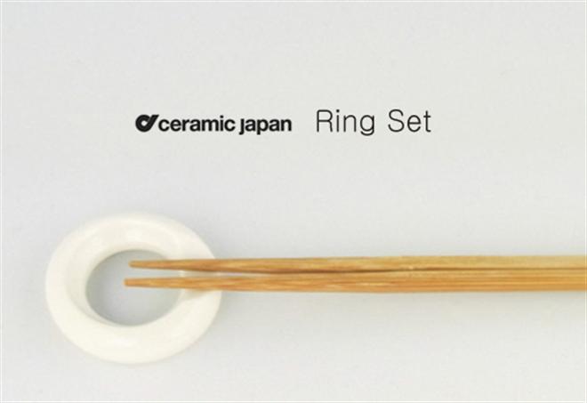 積み重ねて収納できるリングの箸置き ceramic japan リングセット001