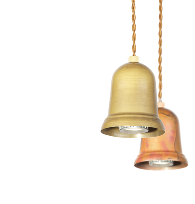 鳴るのではなく光る釣り鐘のようなペンダントライト  APROZ DARTH001