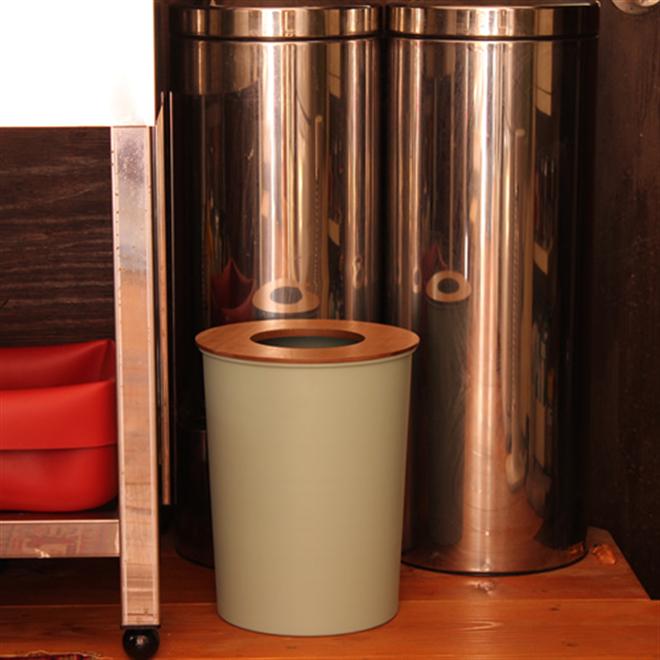 ゴミ袋を隠せる丸いゴミ箱 COLOR & WOOD DUST BOX002