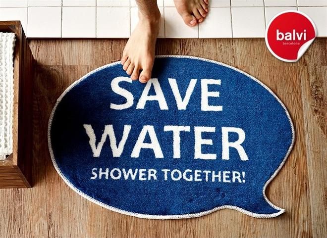 入浴前の節水アピール balvi Save Water バスルームラグマット002