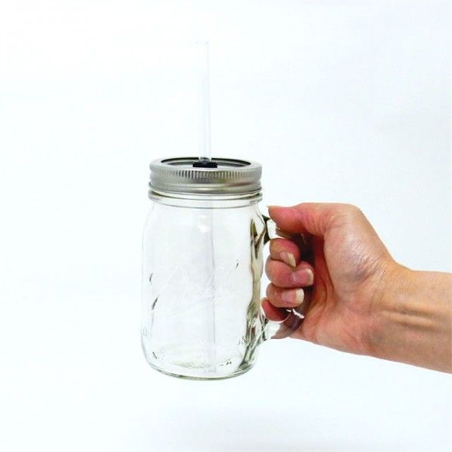 ビンじゃないよグラスだよ フタ付きの大きなグラス Rednek Handled Glass Mug 002