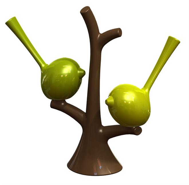 小枝にとまる小鳥の調味料入れ   koziol  ソルト&ペッパーツリー pi:p002