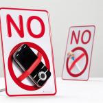 実物を封印しちゃう注意喚起の小さい標識 NO SIGN Desktop holder a message