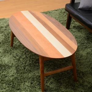 4つの木材がそれぞれの表情を見せる天板 YOGEAR オーバルテーブル 004
