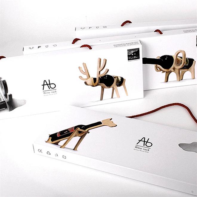 動物がワインをキープ 木製のワインラック Animal's bone005