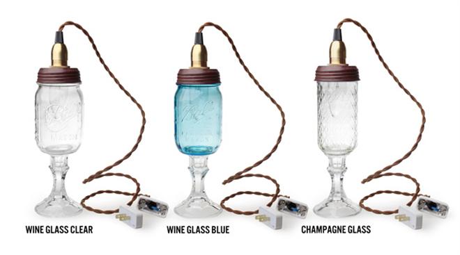 天井からぶらさがるグラスのライト Ball Mason Jar Chandelier Lamp005