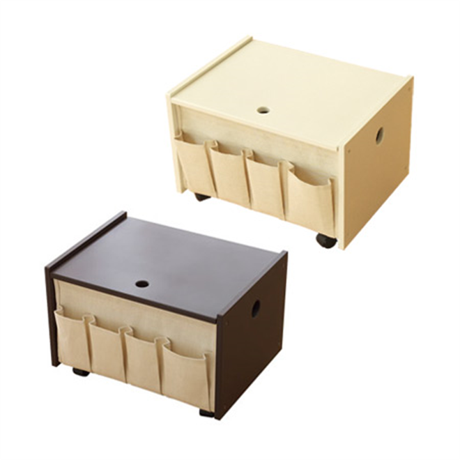 リモコンや小物を入れられるポケットが付いたサイドテーブル Floor Wagon005