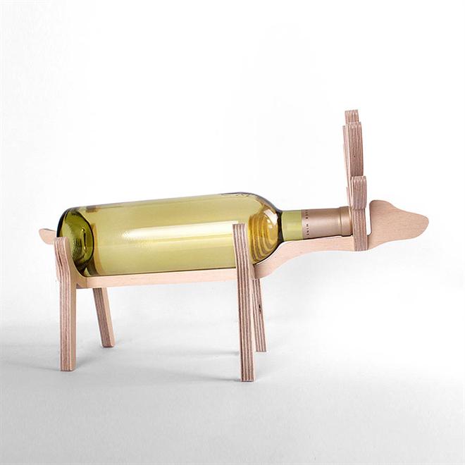 動物がワインをキープ 木製のワインラック Animal's bone006