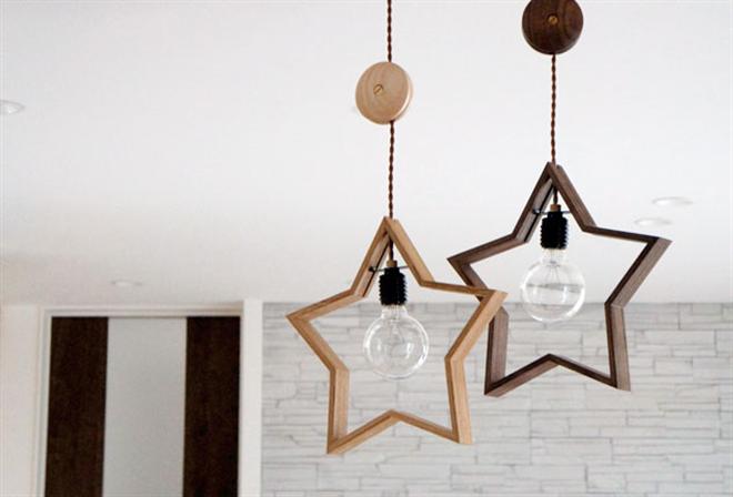 木製の星が部屋を飾る 星形のペンダントライト DOM006