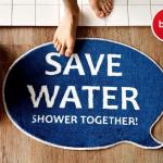 入浴前の節水アピール balvi Save Water バスルームラグマット