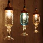 天井からぶらさがるグラスの小さなシャンデリア Ball Mason Jar Chandelier Lamp