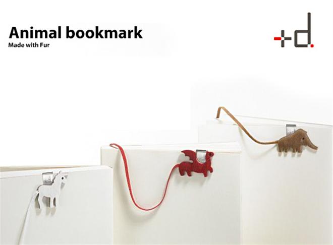 かわいらしい動物のしっぽがしおりに +d animal book mark001