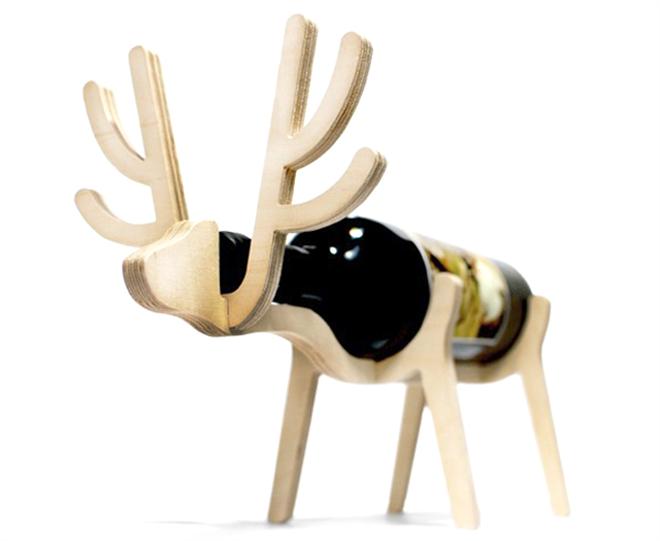 動物がワインをキープ 木製のワインラック Animal's bone002
