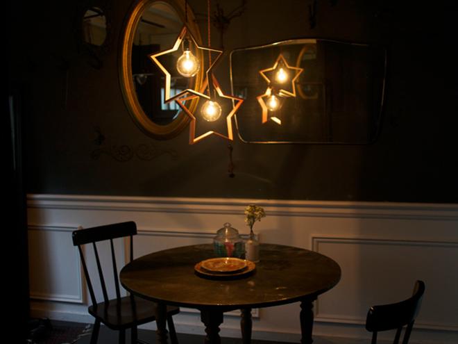 木製の星が部屋を飾る 星形のペンダントライト DOM004