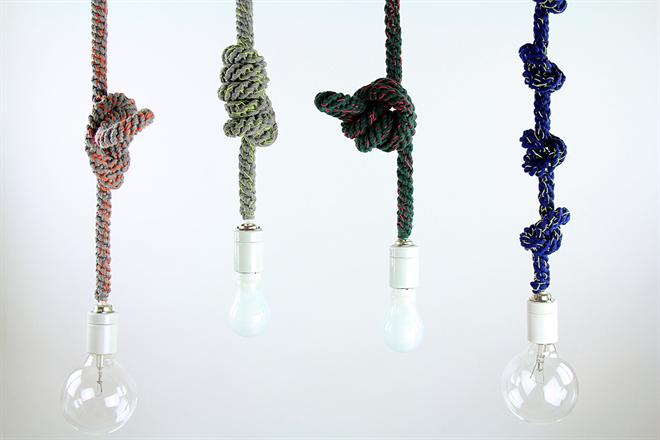 紐のコードを結んで長さを調節するペンダントライト Tricote Knot Pendant Light004
