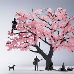 花見を楽しむ人達がペーパー模型に 1/100スケールの桜と人物のセット TERADA MOKEI お花見編