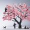 花見を楽しむ人達がペーパー模型に 1/100スケールの桜と人物のセット TERADA MOKEI お花見編001