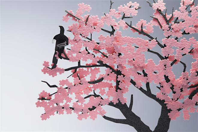 花見を楽しむ人達がペーパー模型に 1/100スケールの桜と人物のセット TERADA MOKEI お花見編002