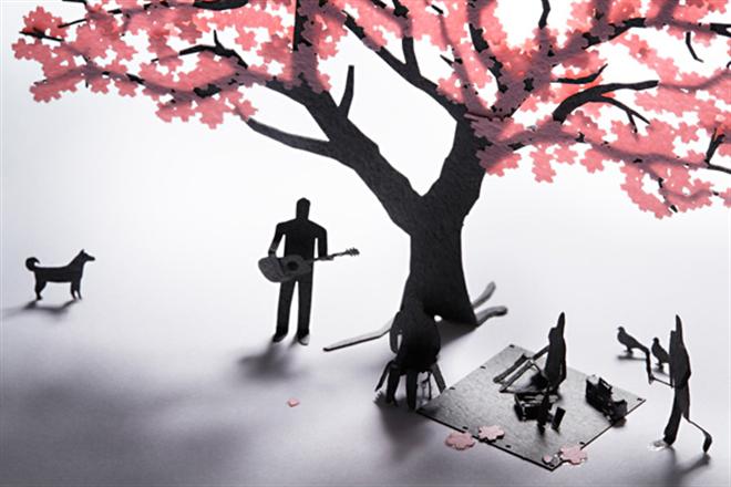 花見を楽しむ人達がペーパー模型に 1/100スケールの桜と人物のセット TERADA MOKEI お花見編004