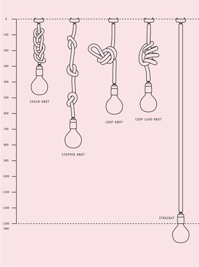 紐のコードを結んで長さを調節するペンダントライト Tricote Knot Pendant Light005